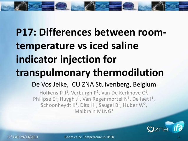 P17: Differences between room-temperature vs iced saline indicator injection for transpulmonary thermodilution 17 room vs ice picco jelke devos