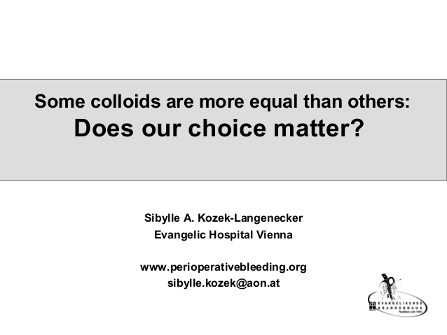 Sibylle Kozek-Langenecker - Does our choice matter? - IFAD 2011