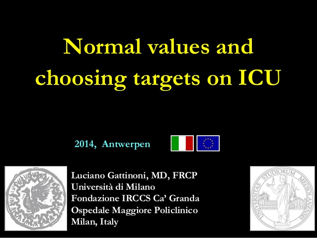 Normal values and choosing targets on ICU