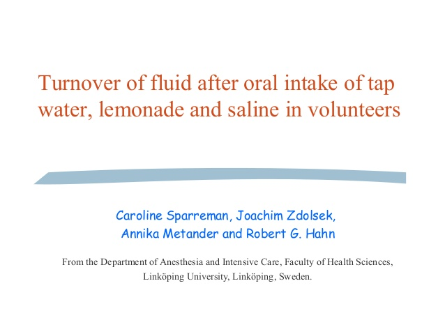 Turnover of fluid after oral intake of tap water, lemonade and saline in volunteers