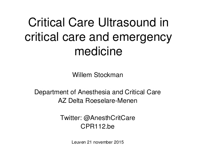 Critical Care Ultrasound in critical care and emergency medicine