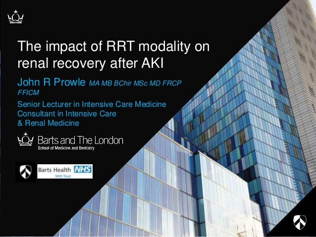 The impact of RRT modality on renal recovery after AKI