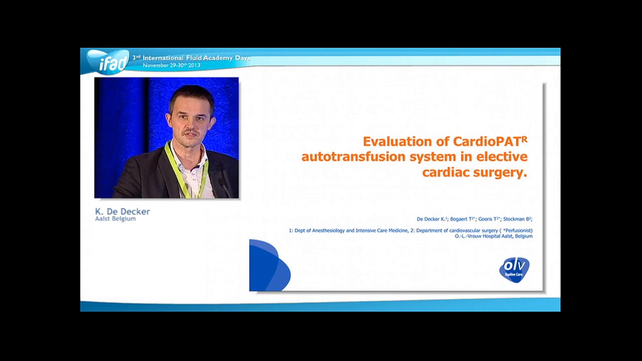 Koen De Decker - Evaluation of CardioPAT autotransfusion system in elective cardiac surgery