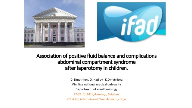 Association of positive fluid balance and complications abdominal compartment syndrome after laparotomy in children.