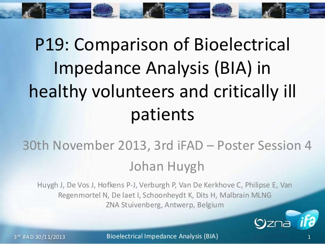 P19: Comparison of Bioelectrical Impedance Analysis (BIA) in healthy volunteers and critically ill patients
