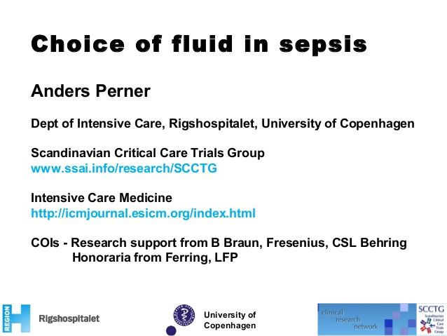 Choice of fluid in sepsis