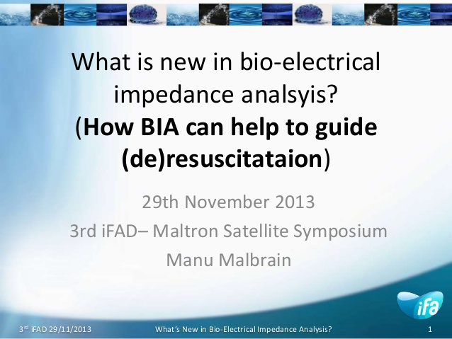 What is new in bio-electrical impedance analsyis? (How BIA can help to guide (de)resuscitataion)