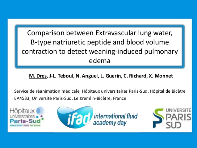 Comparison between Extravascular lung water, B-type natriuretic peptide and blood volume contraction to detect weaning-induced pulmonary edema