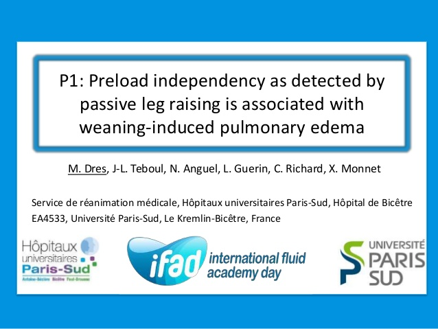 P1: Preload independency as detected by passive leg raising is associated with weaning-induced pulmonary edema