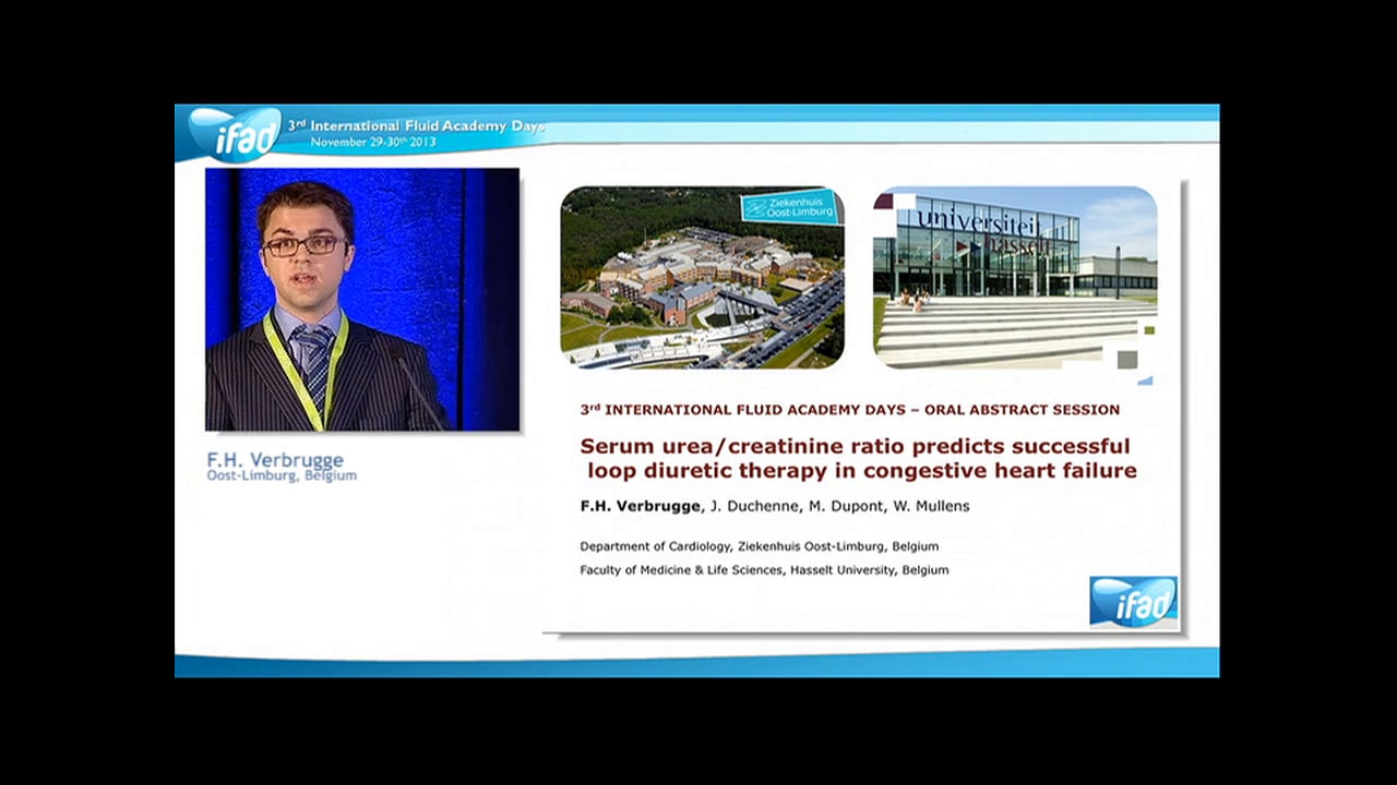 Frederik Verbrugge - Serum urea/creatinine ratio predicts suc­cessful loop diuretic therapy in congestive heart failure